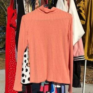 Salmon Pink Topshop Ribbed Mock Neck Sweater